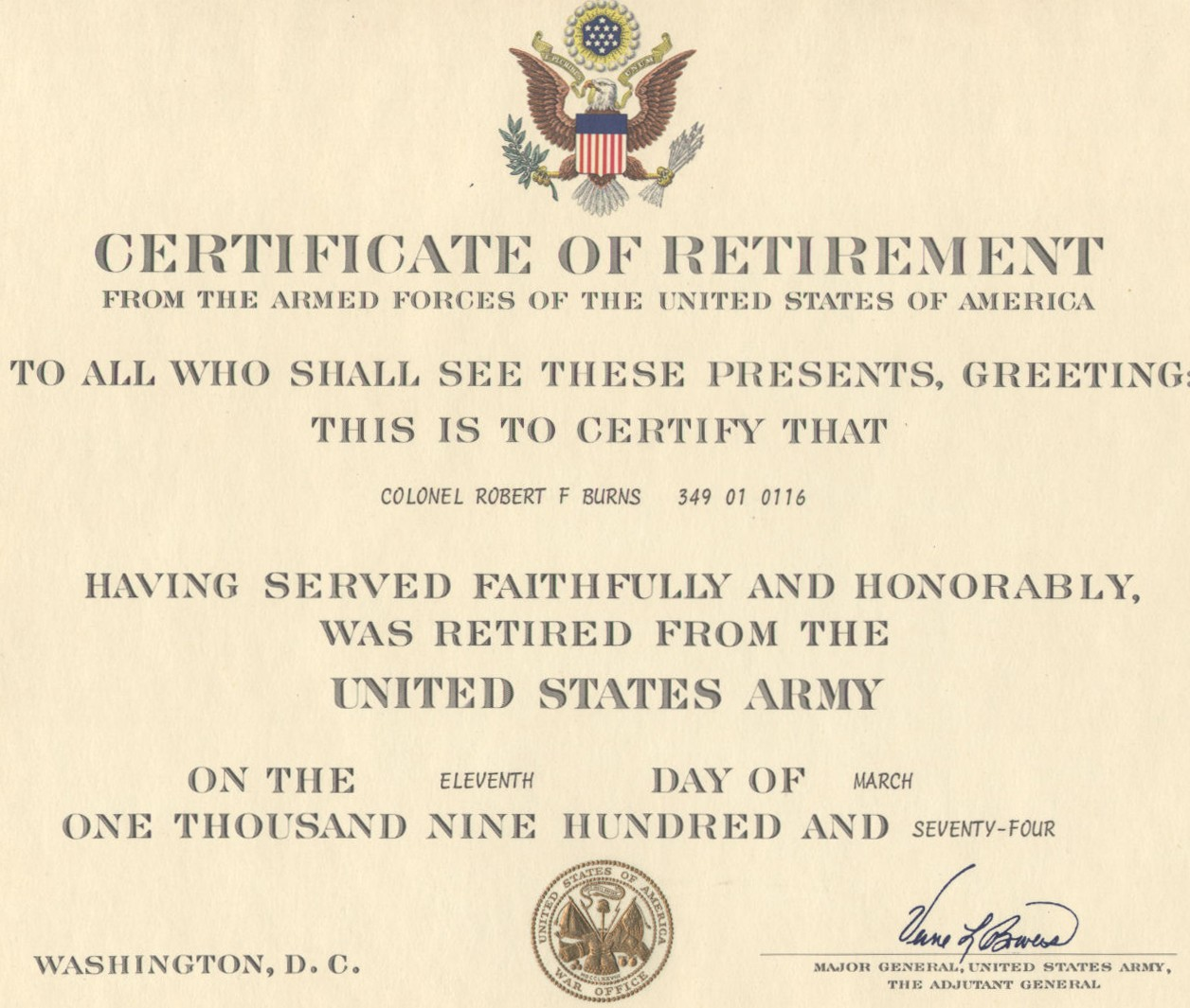 Army Retirement Certificate